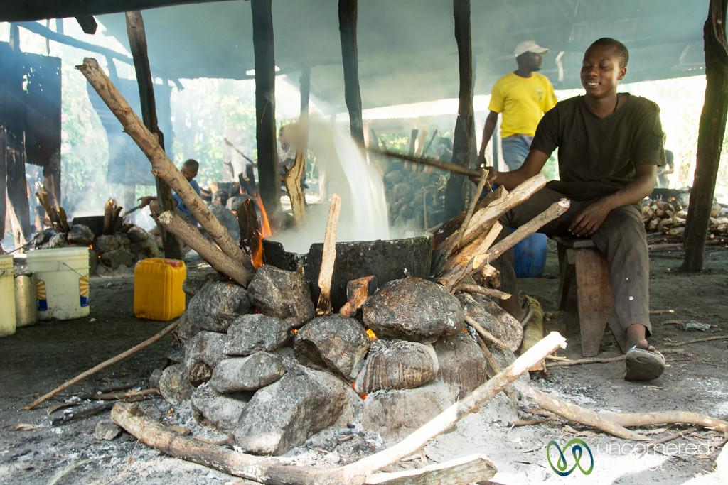 Turning Sugar Milk Mixture to Make Dous Makos - Petit-Goave, Haiti