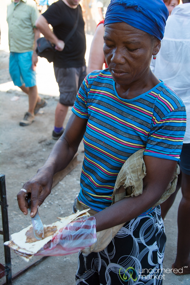 Casava Break with Peanut Butter - Port-au-Prince, Haiti
