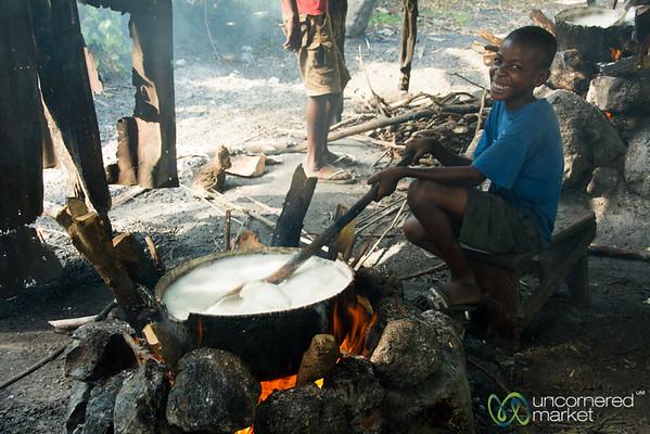 Making Dous Makos, Haitian Cream Fudge - Petit-Goave, Haiti