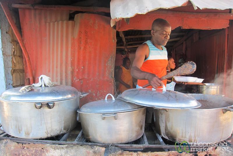 Haitian Street Food Stand in Jacmel, Haiti