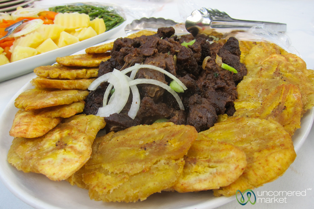 food and markets uncornered market fried dried beef and plantains cap haatildemacrtien