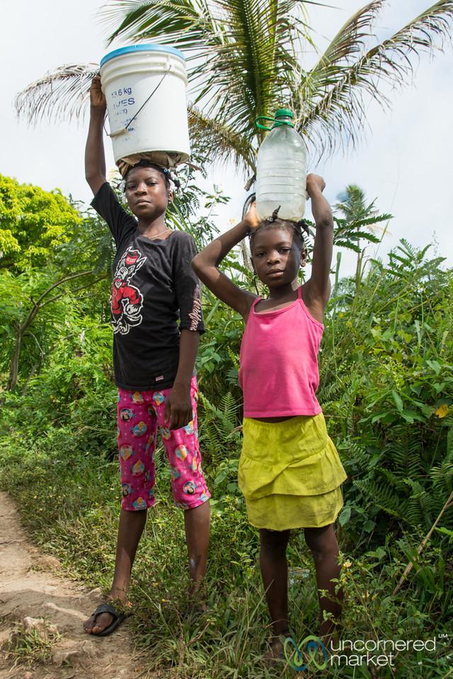 School Girls Carrying Water - Rural Haiti