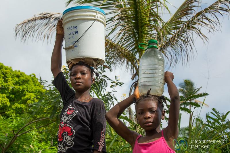 School Girls Carrying Home Water - Rural Haiti