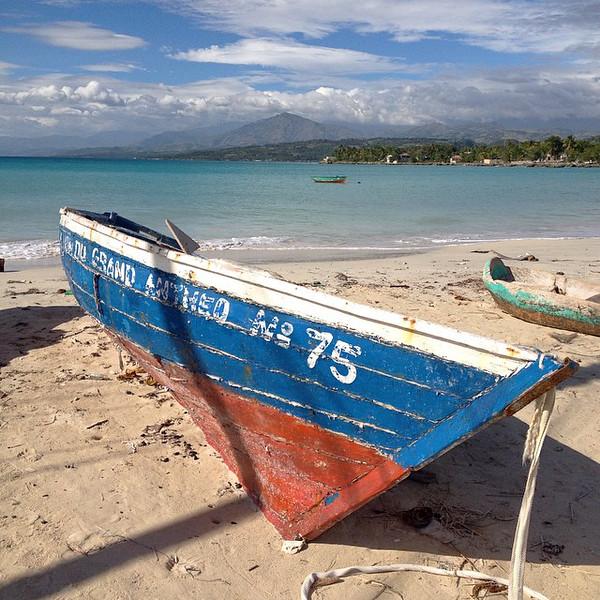 Fishing boats on the shores of Port Salut, southwestern Haiti
