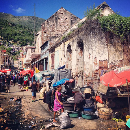 The streets of Haiti, just outside the main covered market of Cap-Haïtien