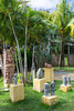Ethnic sculptured figures in a small park near mahogany Bay, Roatan, Honduras.