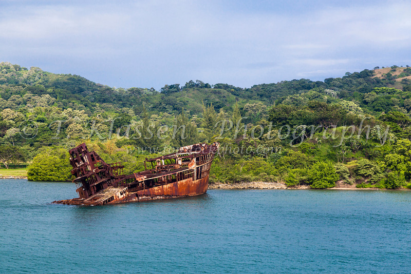 The remains of a sunken ship wreck in Mahogany Bay, Roatan, Honduras.