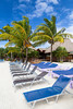 The tropical beach resort of Los Palmos on Roatan island, Honduras.