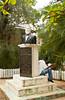 A monument to Jose Santos Guardiola at Coxen Hole, Roatan, Honduras, Central America.