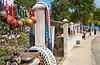 Souvenir shops near the port at Coxen Hole, Roatan, Honduras, Central America.