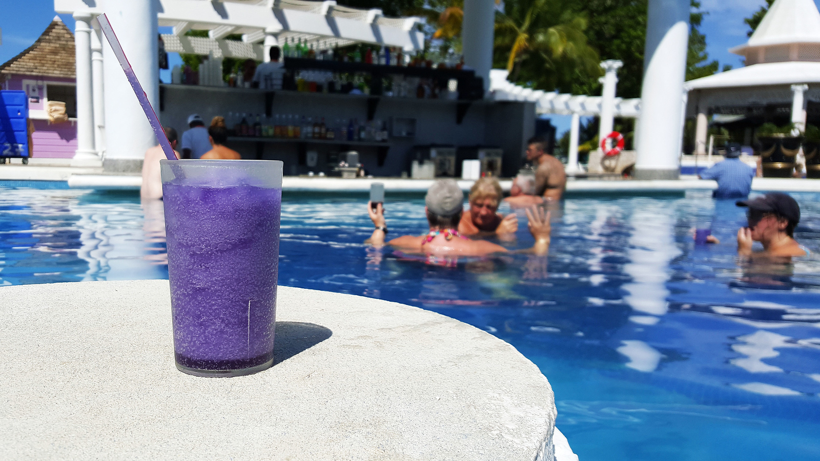Slushy purple drink by the swimming pool at the Riu Resort in Jamaica