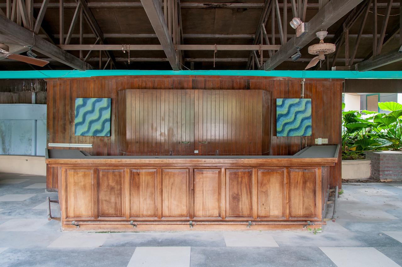 Reception desk at the abandoned resort in Montserrat