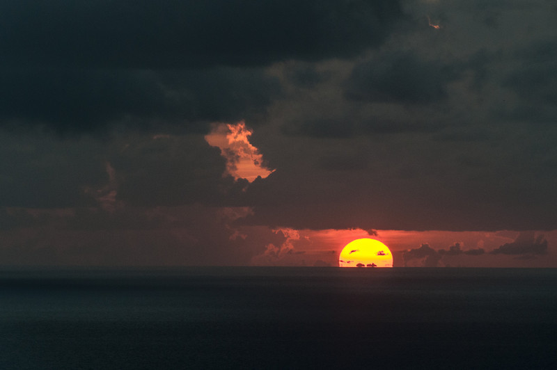 Sunset over the island of Montserrat