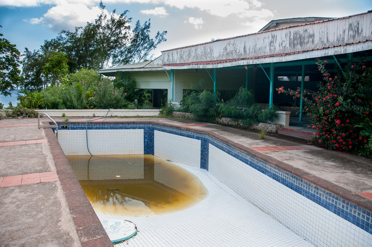 Empty pool in the island of Montserrat
