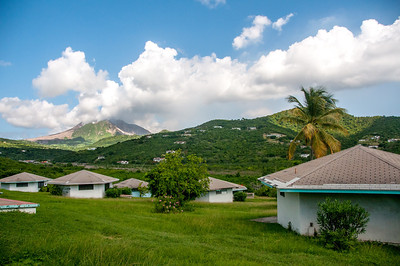 Volcano of Montserrat seen from afar
