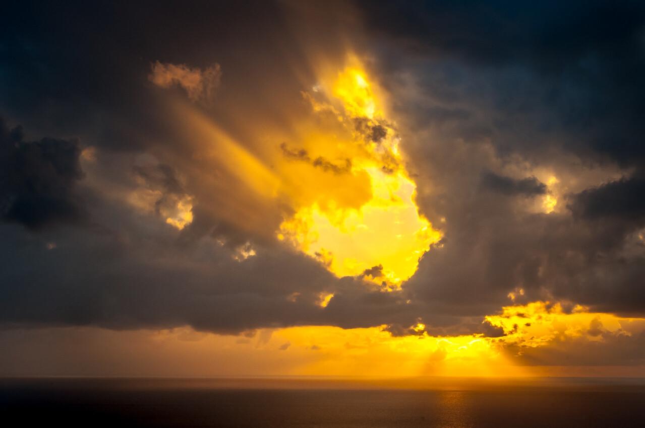 Sunset over the island of Montserrat