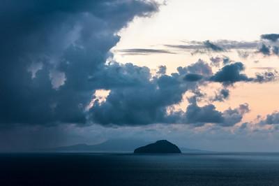 The island of Redonda as seen from Montserrat on sunset