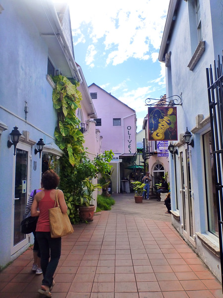 Pedestrian shopping street in Nassau Bahamas