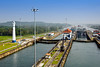 The Panama Canal lock system with ships entering a lower lock, Panama, Central America.