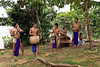 An Embera Indian welcoming band at the Embera Indian Village near Colon, Panama, Central America.