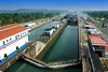 The Panama Canal lock system with lock gates closed and ship entering a lower lock, Panama.