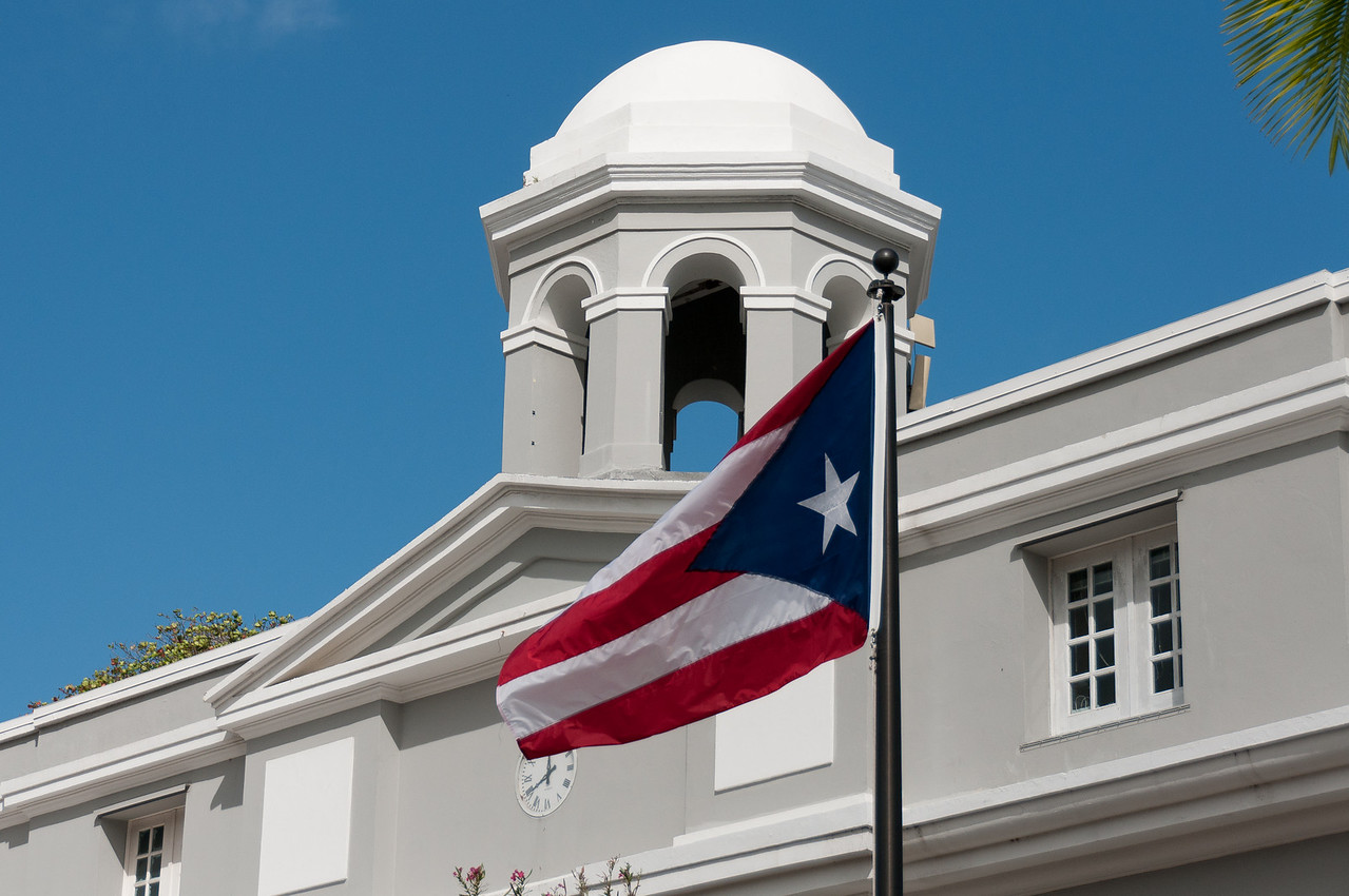 Flag at the Puerto Rico Tourism Company in San Juan, Puerto Rico