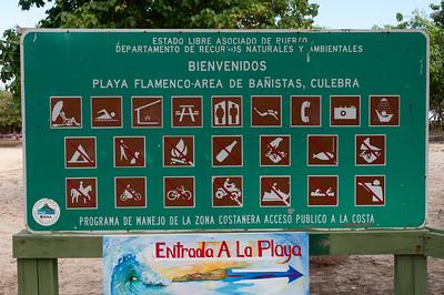 Sign at Flamenco Beach, Culebra Island, Puerto Rico