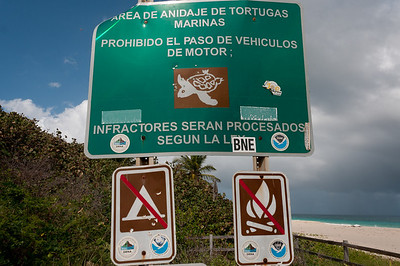 Sign at Flamenco Beach on the island of Culebra, Puerto Rico