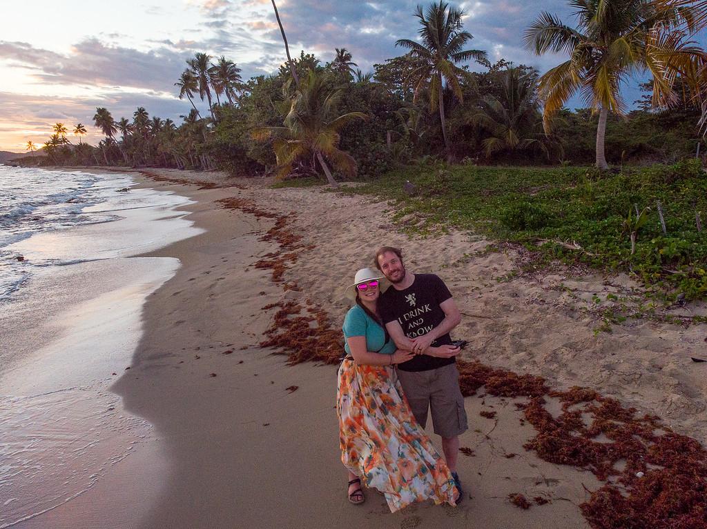 Amanda and Elliot on a beach inPuerto Rico