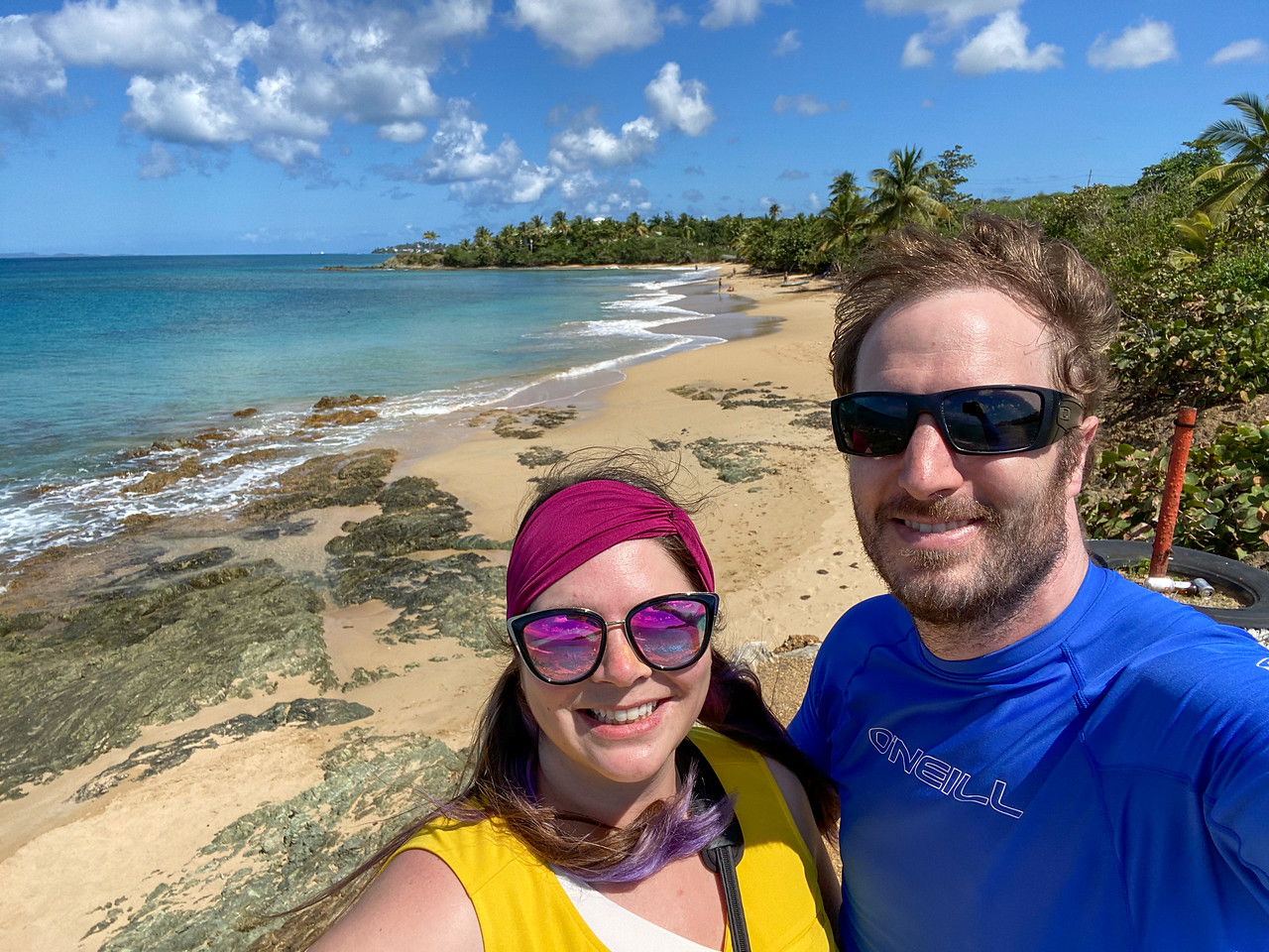 Amanda and Elliot on a Vieques beach