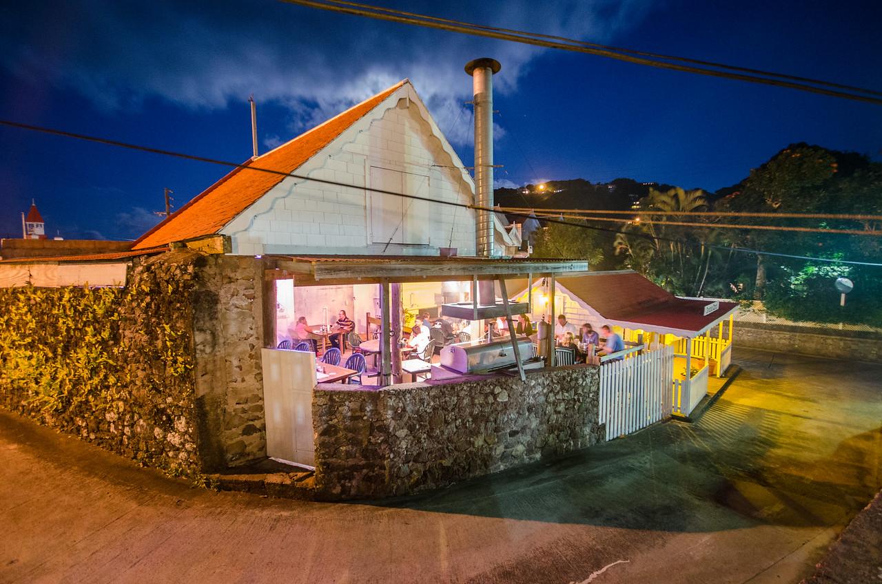 Sunday night is steak night at the Swinging Doors Bar in Windwardside.