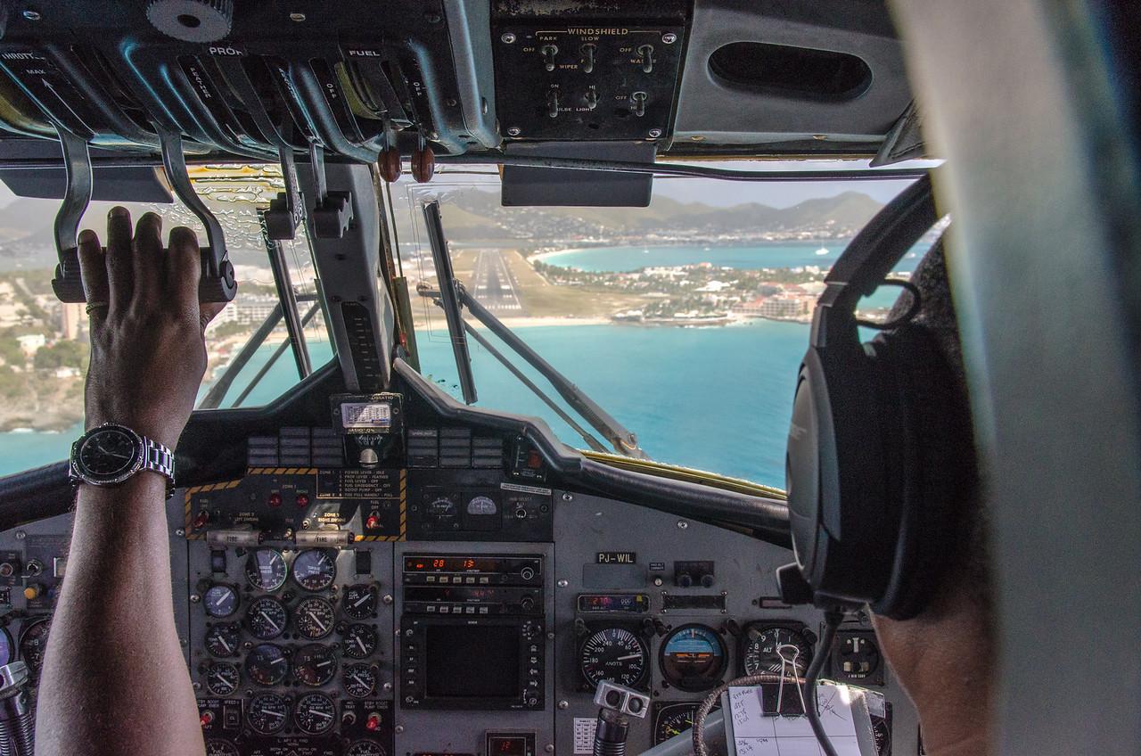 The Twin Otter on short final to Princess Juliana Airport, St Maarten.