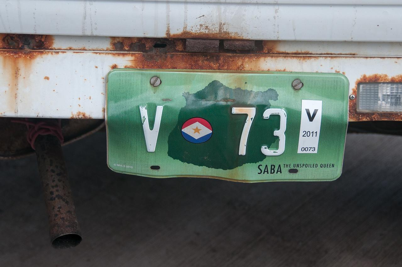 License plate on vehicle - Saba