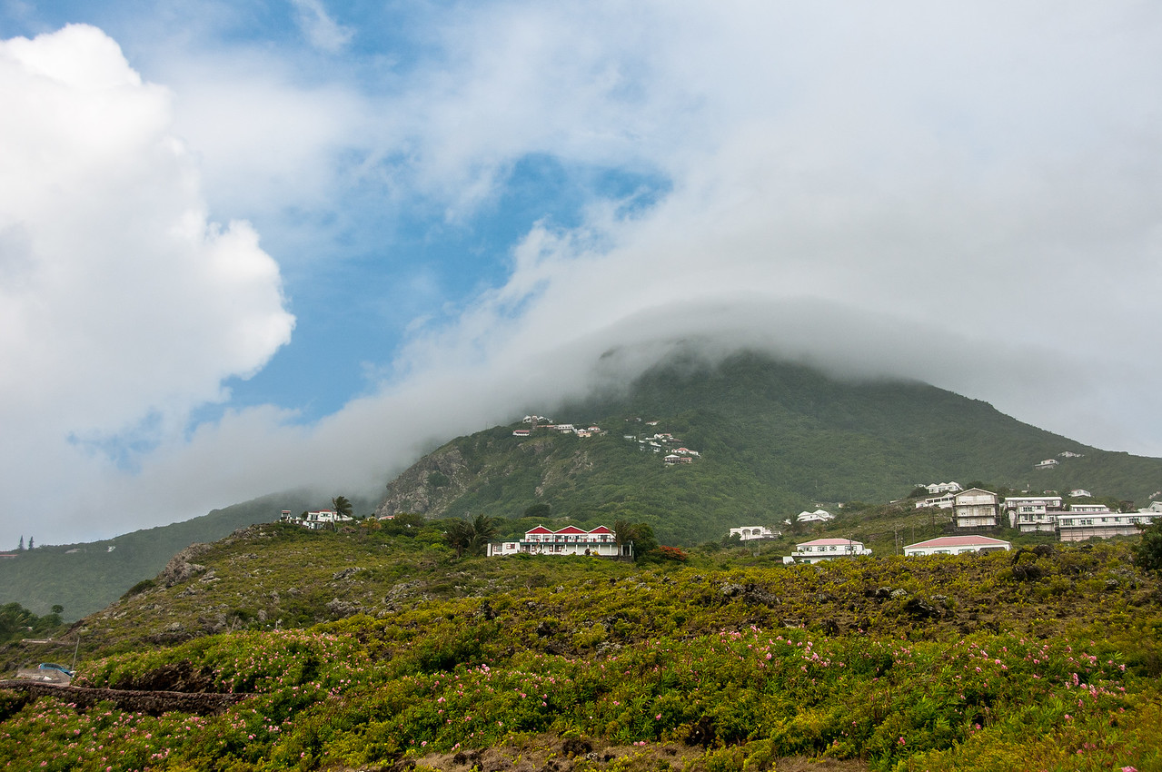 Fog over mountain in the island of Saba