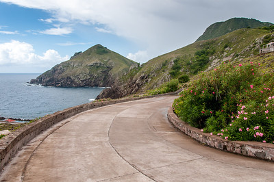 Road with a view of coast on the island of Saba