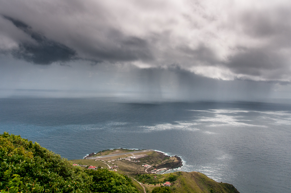 Storm Squall Coming to the Airport on the Island of Saba