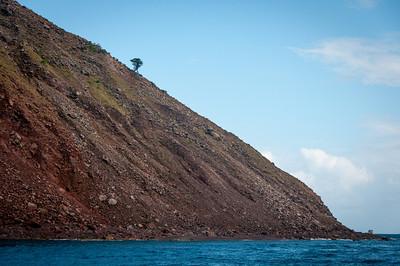 Coastline on the island of Saba