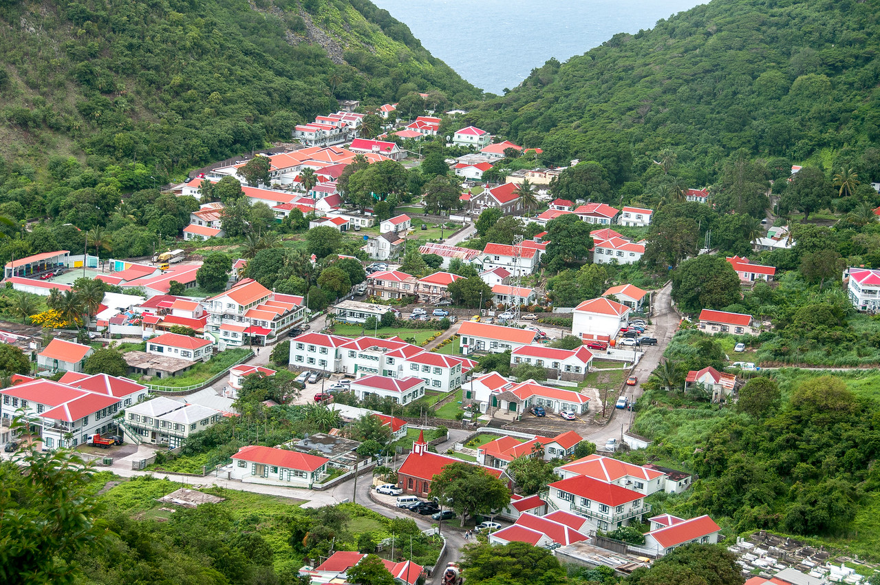 Aerial view of the island of Saba