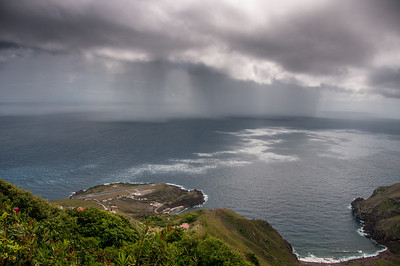 Storm brewing over the airport in the island of Saba