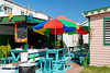 A colorful outdoor restaurant in Basseterre, St. Kitts, Caribbean, West Indies.
