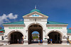 Welcome to St Kitts gate at the cruise ship port in Bassettere, St. Kitts, Caribbean, West Indies.