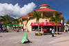 Colorful shops and stores at the cruise ship terminal in Bassterre, St. Kitts, Caribbean, West Indies.