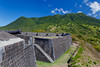 Cannon guns at the historic Brimstone Fortress on St. Kitts island, Caribbean, West Indies.