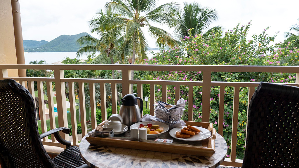 Balcony breakfast at the Sandals Grande St Lucian