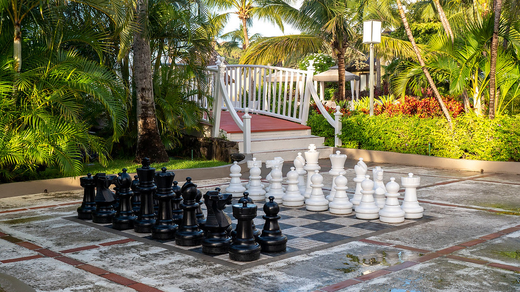 Giant chess at Sandals Grande St Lucian resort