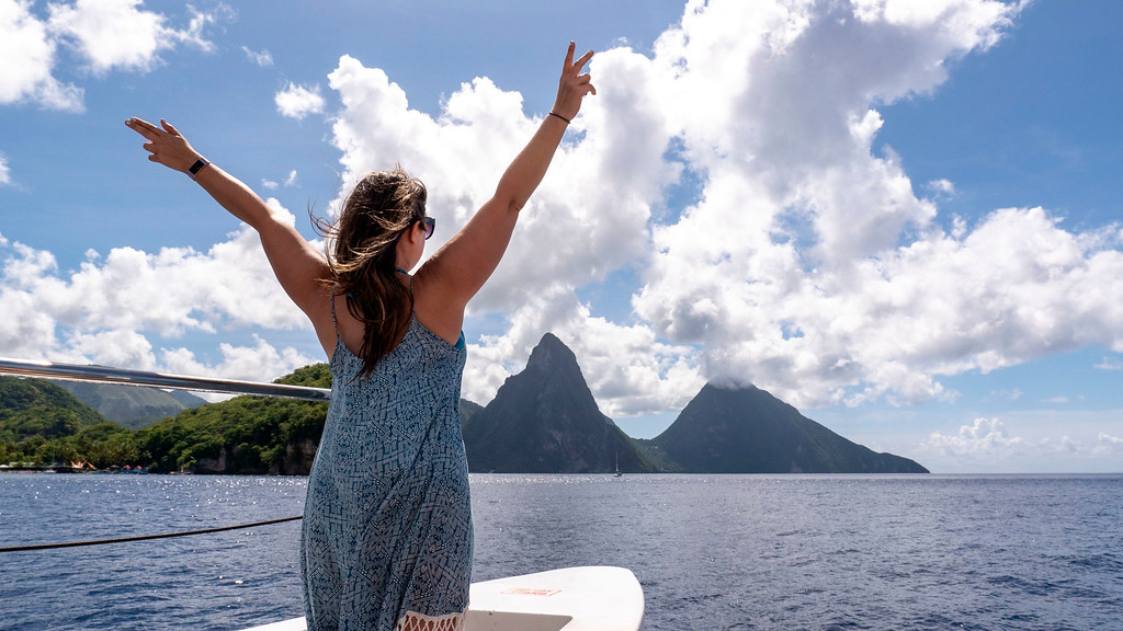 The Pitons from a catamaran tour - Things to do in St Lucia