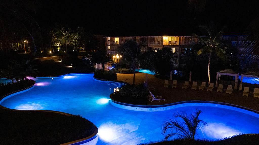 Sandals Grande St Lucian Review swimming pool at night