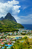 The coastal town of Soufriere with the twin peaks Petit Piton and Gros Piton, St. Lucia, Caribbean, West Indies.