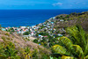 The coastal town of Canaries from a mountain viewpoint in St. Lucia, Caribbean, West Indies.