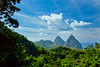 The twin peaks of Petit Piton and Gros Piton in St. Lucia, Caribbean, West Indies.